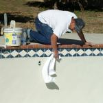 New Tile and white Plaster Reyes Pool Plastering INC. Click Image to enlarge.