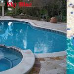 Sky Blue Pebble Reyes Pool Plastering INC.